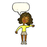 cartoon woman only joking with speech bubble Stock Photo