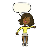 Cartoon woman only joking with speech bubble Royalty Free Stock Photos