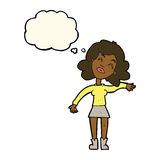 Cartoon woman only joking with thought bubble Royalty Free Stock Images