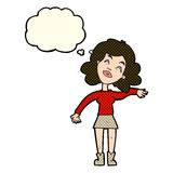 Cartoon woman only joking with thought bubble Royalty Free Stock Photography