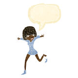Cartoon woman kicking off sock with speech bubble Royalty Free Stock Photo