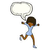 Cartoon woman kicking off sock with speech bubble Stock Photos