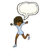 Cartoon woman kicking off sock with speech bubble Royalty Free Stock Image