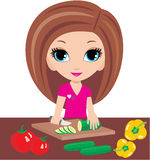 Cartoon woman on kitchen cuts vegetables. Vector, no gradient, color full Royalty Free Stock Photos