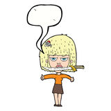 Cartoon woman with knife between teeth with speech bubble Royalty Free Stock Photography