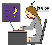 Cartoon woman late work overtime night Stock Images