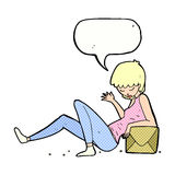 Cartoon woman leaning on package box with speech bubble Stock Photo
