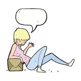 Cartoon woman leaning on package box with speech bubble Royalty Free Stock Photos