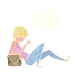 Cartoon woman leaning on package box with thought bubble Royalty Free Stock Photo
