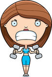 Cartoon Woman Lifting Weights Royalty Free Stock Images