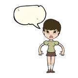 Cartoon woman looking annoyed with speech bubble Royalty Free Stock Images