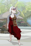 Cartoon woman looking languidly into the distance in the tropics Royalty Free Stock Image