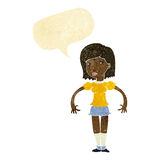 Cartoon woman looking sideways with speech bubble Royalty Free Stock Photography