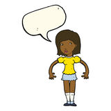 Cartoon woman looking sideways with speech bubble Royalty Free Stock Images