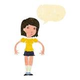 Cartoon woman looking sideways with speech bubble Stock Photo