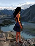 Cartoon woman looks at the river valley in the mountains Stock Photo