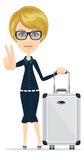 Cartoon woman with luggage, vector illustration Royalty Free Stock Photo