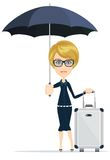 Cartoon woman with luggage, vector illustration Royalty Free Stock Photos