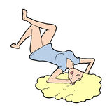 Cartoon woman lying on floor Royalty Free Stock Photo