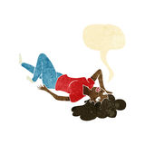 Cartoon woman lying on floor with speech bubble Stock Images