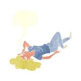 Cartoon woman lying on floor with speech bubble Stock Photography