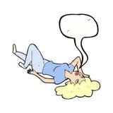 Cartoon woman lying on floor with speech bubble Stock Photos