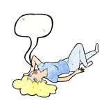 Cartoon woman lying on floor with speech bubble Stock Photo