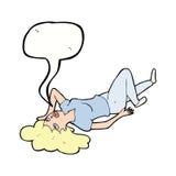 Cartoon woman lying on floor with speech bubble Stock Image