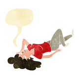 Cartoon woman lying on floor with speech bubble Royalty Free Stock Photography