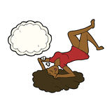 Cartoon woman lying on floor with thought bubble Stock Photography