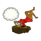 Cartoon woman lying on floor with thought bubble Royalty Free Stock Photos