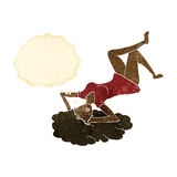 Cartoon woman lying on floor with thought bubble Stock Image