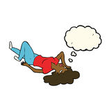 Cartoon woman lying on floor with thought bubble Royalty Free Stock Image