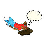 Cartoon woman lying on floor with thought bubble Royalty Free Stock Images