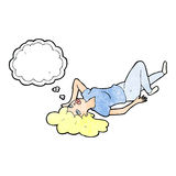 Cartoon woman lying on floor with thought bubble Stock Images