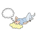 Cartoon woman lying on floor with thought bubble Royalty Free Stock Photography