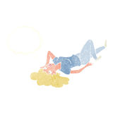 Cartoon woman lying on floor with thought bubble Stock Photos