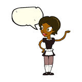 Cartoon woman in maid costume with speech bubble Stock Image
