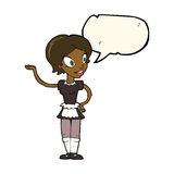 Cartoon woman in maid costume with speech bubble Royalty Free Stock Photo