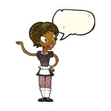 Cartoon woman in maid costume with speech bubble Royalty Free Stock Images