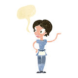 Cartoon woman in maid costume with speech bubble Stock Photography
