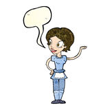 Cartoon woman in maid costume with speech bubble Stock Photos