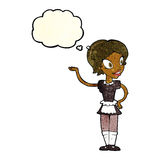 Cartoon woman in maid costume with thought bubble Royalty Free Stock Image