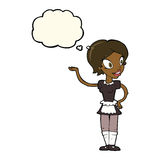 Cartoon woman in maid costume with thought bubble Stock Photo