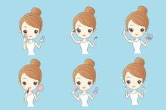 Cartoon woman make up Stock Photos