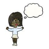 Cartoon woman making decision. Retro cartoon with texture. Isolated on White Stock Photos