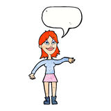 cartoon woman making hand gesture with speech bubble Stock Photography