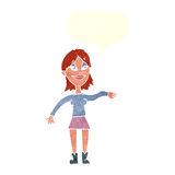 cartoon woman making hand gesture with speech bubble Stock Images