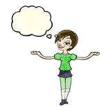 cartoon woman making open arm gesture with thought bubble Stock Photo