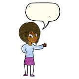 Cartoon woman making welcome gesture with speech bubble Royalty Free Stock Photos